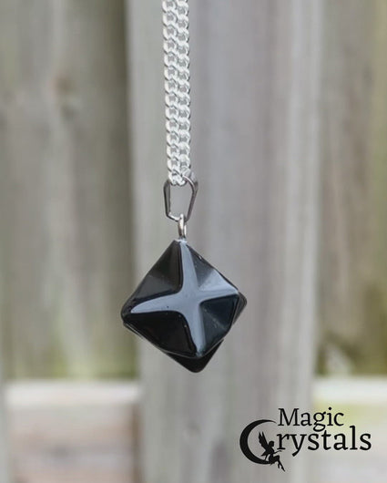 Black Obsidian Stone Star of David, Estrella de David Merkaba Necklace
