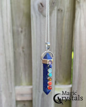 Load and play video in Gallery viewer, STONE OF SUCCESS AND INTUITION – Lapis stimulates wisdom and good judgment in the practical world, bringing out your intuition and resulting in success in whatever it is that you are pursuing. Enjoy free shipping on orders over $35 and easy returns every day at MagicCrystals.Com . 7 Chakra Lapis Lazuli Necklace.