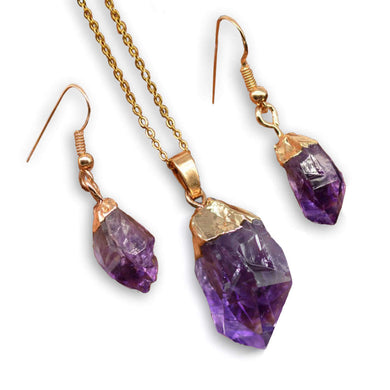 Shop for beautiful Natural Raw Amethyst Dangling Earrings, Gold Dipped with Matching Pendant. Excellent choice for women. available with FREE SHIPPING and in gold. Find a Gold Amethyst Necklace or Gold Amethyst Necklace when you shop at Magic Crystals. February birthstone.