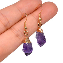 Load image into Gallery viewer, Natural Raw Amethyst Dangling Earrings, Gold Dipped Amethyst Set with Matching Pendant - Magic Crystals - Earrings