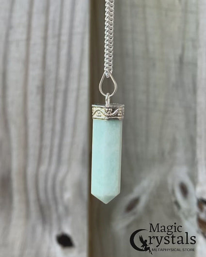 Natural Amazonite Stone Crystal Pendant Necklace Authentic Stone on Silver Plated | Magic Crystals. Green stone pendant