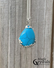 Load and play video in Gallery viewer, Blue Turquoise Stone Handmade Tear Drop Flower Necklace Magic Crystals Miami Homestead