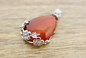 Red Agate Stone Handmade Tear Drop Flower Necklace-NECKLACES-Magic Crystals