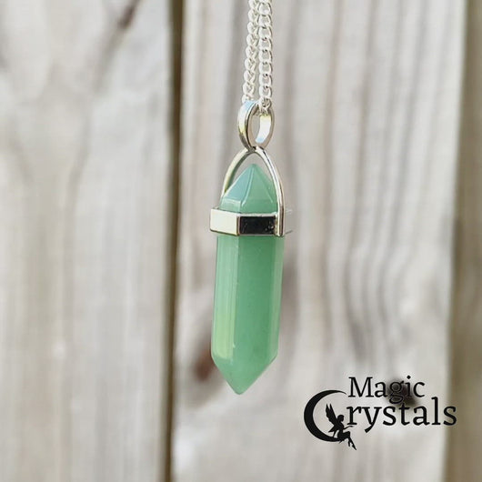 Green Aventurine Stone Double Point Handmade Necklace - Magic Crystals