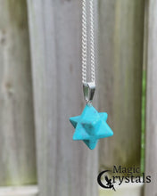 Load and play video in Gallery viewer, Blue Turquoise Stone Star of David Estrella de David Merkaba Necklace