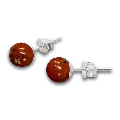 Red Jasper Earrings. Red Jewelry. Natural Red Jasper Stud Beaded Earrings at Magic Crystals, beaded earrings. Red Jasper is a stone of physical strength, vitality which can help with the stabilization of one's energy. 8mm stud earrings, are made 100% natural red jasper, elegant and simple for any family gathering.