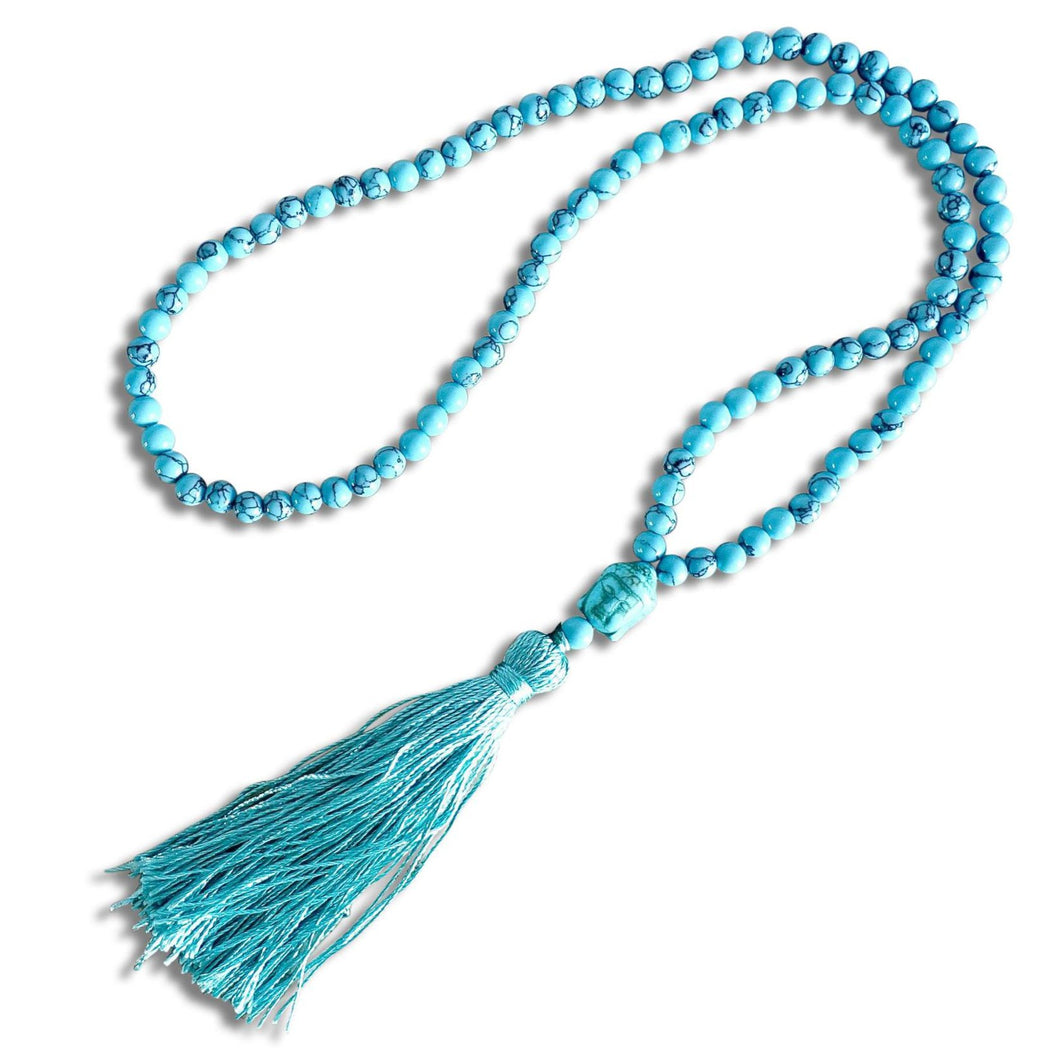 Serenity Mala Necklace | Blue Turquoise Stone-Mala Necklaces-Magic Crystals