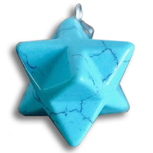 Load image into Gallery viewer, Blue Turquoise Stone Handmade Merkaba Pendant-Merkaba Pendants-Magic Crystals