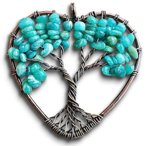 Amazonite Stone - Tree of LifeHeart Pendant Necklace - Magic Crystals - Copper Necklace