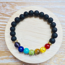 Load image into Gallery viewer, Black Lava Stone and 7 Chakra Stretch Bracelet-Bracelets-Magic Crystals