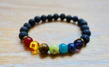 Load image into Gallery viewer, Black Lava Stone and 7 Chakra Elastic Bracelet-Bracelets-Magic Crystals