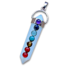 7 Chakra Double Point Opalite Pendant-7 Chakra Pendants-Magic Crystals