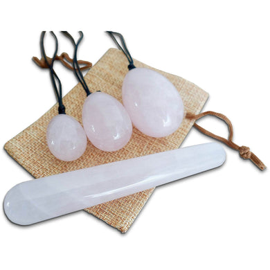 Rose Quartz Stone Yoni Eggs Set and Massage Wand-YONI EGGS-Magic Crystals
