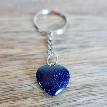 Load image into Gallery viewer, Blue Goldstone Keychain. Blue Goldstone or Sandstone is said to help attain one's goals. Blue Sandstone Stone Heart Keychain, Crystal Keychain at Magic Crystals. Shop with free shipping available. We carry a wide variety of cat eyes keychains, gemstones, bracelets, earrings and handmade jewelry.