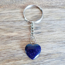 Load image into Gallery viewer, Blue Sandstone Stone Handmade Heart Keychain-Keychains-Magic Crystals
