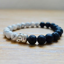 Load image into Gallery viewer, White Turquoise and Black Lava Buddha Bracelet-Bracelets-Magic Crystals