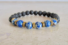 Load image into Gallery viewer, Lava Stone and Blue Sediment Jasper Bracelet-Bracelets-Magic Crystals
