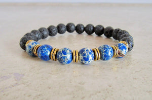 Lava Stone and Blue Sediment Jasper Bracelet-Bracelets-Magic Crystals