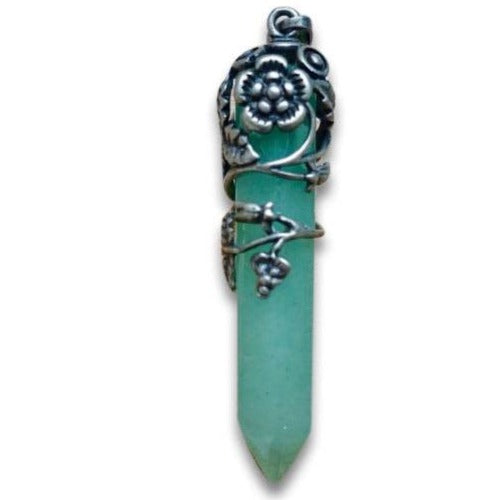 Green Aventurine Flower Wrap Pendant-Flower Pendants-Magic Crystals