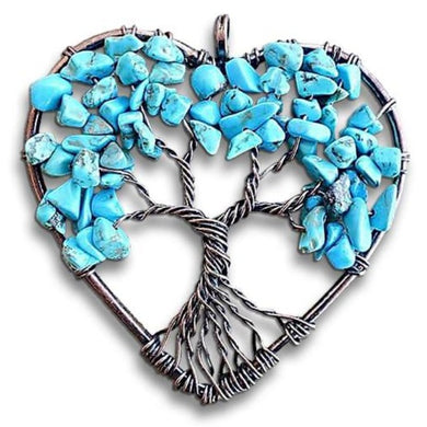 Blue Turquoise Tree of Life Copper Wire Heart Pendant-Copper Pendants-Magic Crystals