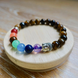Yellow Tiger Eye 7 Chakra Buddha Bracelet-Bracelets-Magic Crystals