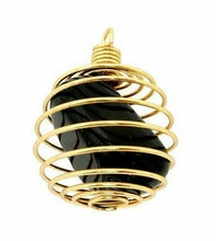 Load image into Gallery viewer, Gold Plated and Silver Plated Pendant | Spiral Cage with Natural Tumbled Stone-Pendants-Magic Crystals