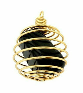 Gold Plated and Silver Plated Pendant | Spiral Cage with Natural Tumbled Stone-Pendants-Magic Crystals