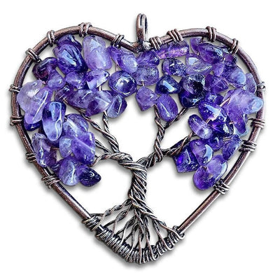 Amethyst Tree of Life Copper Wire Heart Pendant-Copper Pendants-Magic Crystals