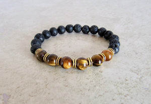Lava Stone and Yellow Tiger Eye Bracelet-Bracelets-Magic Crystals