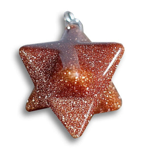 Goldstone Gemstone Handmade Merkaba Pendant-Merkaba Pendants-Magic Crystals