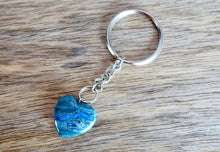 Load image into Gallery viewer, Blue Jasper Keychain Blue Jasper. Blue Jasper Keychain and connect with the stone when you need a moment of spiritual guidance. Blue Jasper Gemstone Heart Keychain, Crystal Keychain at Magic Crystals. Free shipping available. We carry a wide variety of keychains, gemstones, bracelets, earrings and handmade jewelry.