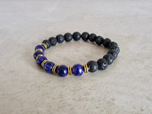 Load image into Gallery viewer, Lava Stone and Lapis Lazuli Bracelet-Bracelets-Magic Crystals
