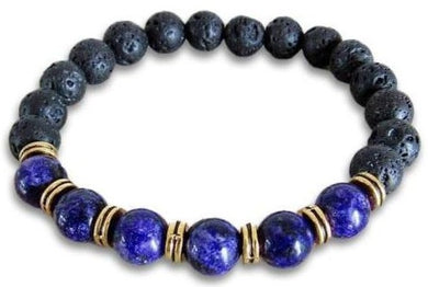 Lava Stone and Lapis Lazuli Bracelet-Bracelets-Magic Crystals