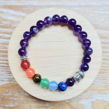Load image into Gallery viewer, 7 Chakra Stone Amethyst Quartz Buddha Bracelet-Bracelets-Magic Crystals