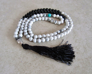 Balancing Mala Necklace | Black Agate + White Howlite Stone-Mala Necklaces-Magic Crystals