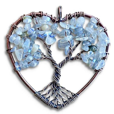 Angelite Stone Tree of Life Handmade Copper Wire Heart Pendant-Copper Pendants-Magic Crystals