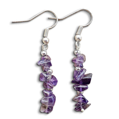Amethyst Stone Quartz Handmade Raw Earrings-Earrings-Magic Crystals