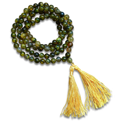 Self-Confidence | Mala Necklace | Yellow Dragon Skin Agate Stone-Mala Necklaces-Magic Crystals