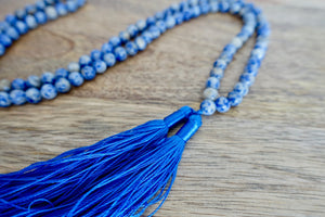 Blue Spot Jasper Stone Handmade Mala Necklace-Mala Necklaces-Magic Crystals