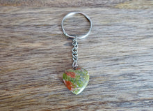 Load image into Gallery viewer, Unakite Stone Handmade Heart Keychain-Keychains-Magic Crystals
