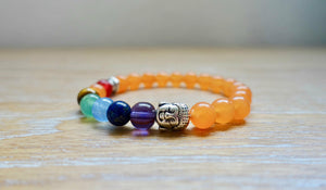 Orange Aventurine 7 chakras Buddha Bracelet-Bracelets-Magic Crystals
