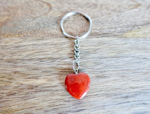 Red Jasper Stone Handmade Heart Keychain-Keychains-Magic Crystals