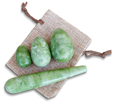 Green Jade Stone Yoni Eggs Set and Massage Wand-YONI EGGS-Magic Crystals