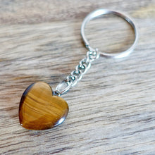 Load image into Gallery viewer, Yellow Tiger Eye Stone Handmade Heart Keychain-Keychains-Magic Crystals