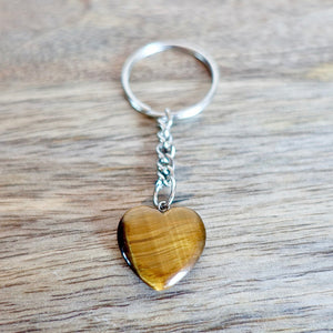 Yellow Tiger Eye Stone Handmade Heart Keychain-Keychains-Magic Crystals