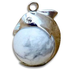 Howlite Stone Sphere Dolphin Pendant Necklace - Dolphin Necklace - Magic Crystals