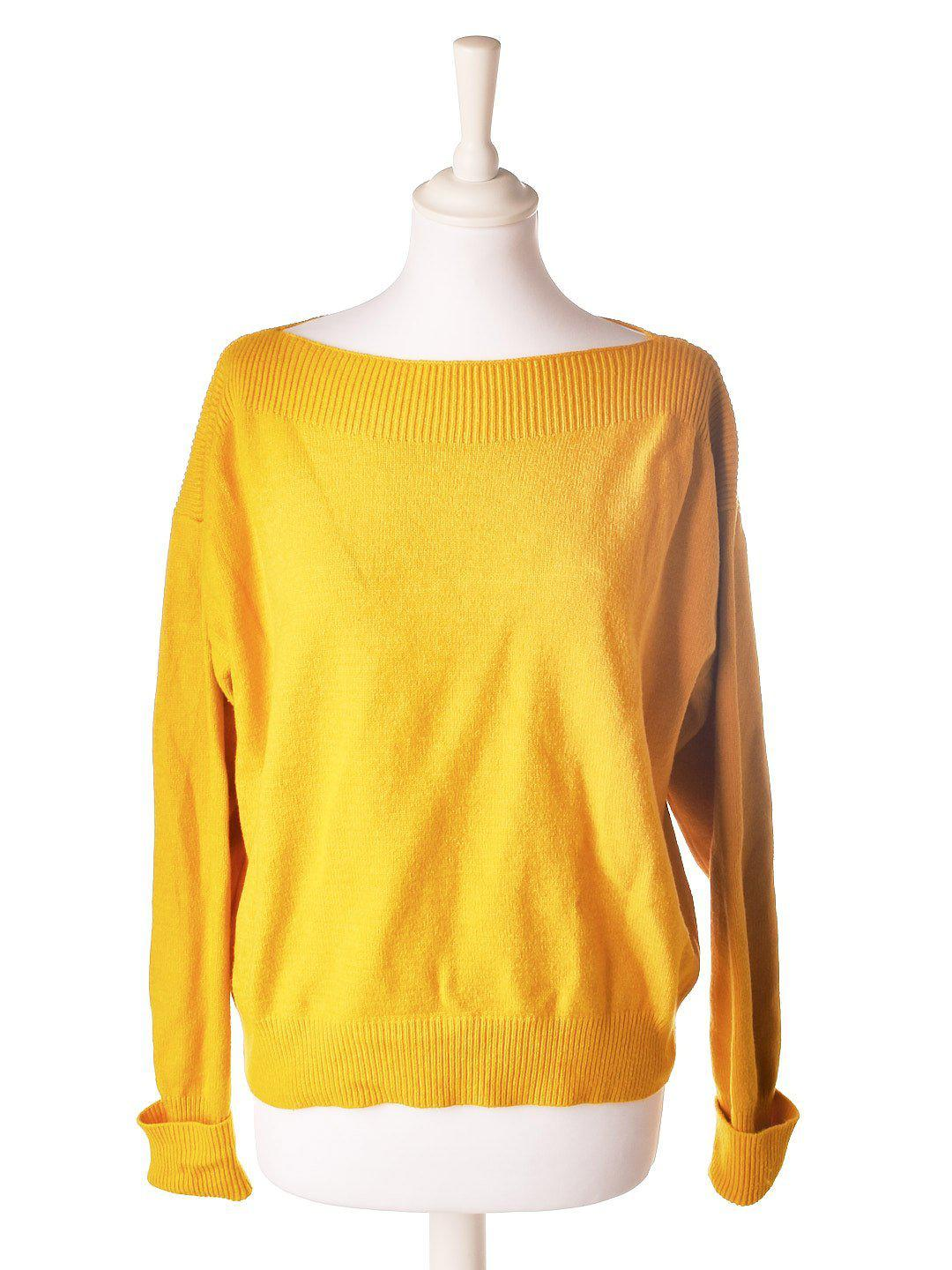 Gul Sweater med Boat Neck