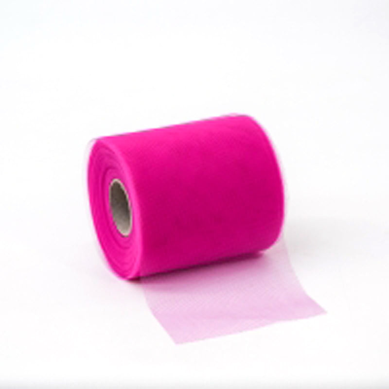 Nastro in tulle fine fucsia mm 100 x 50 mt