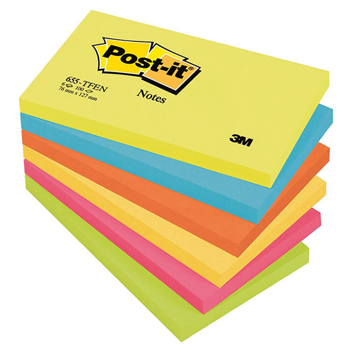 Blocco 3M Post-It 76X127 Neon Cf.6
