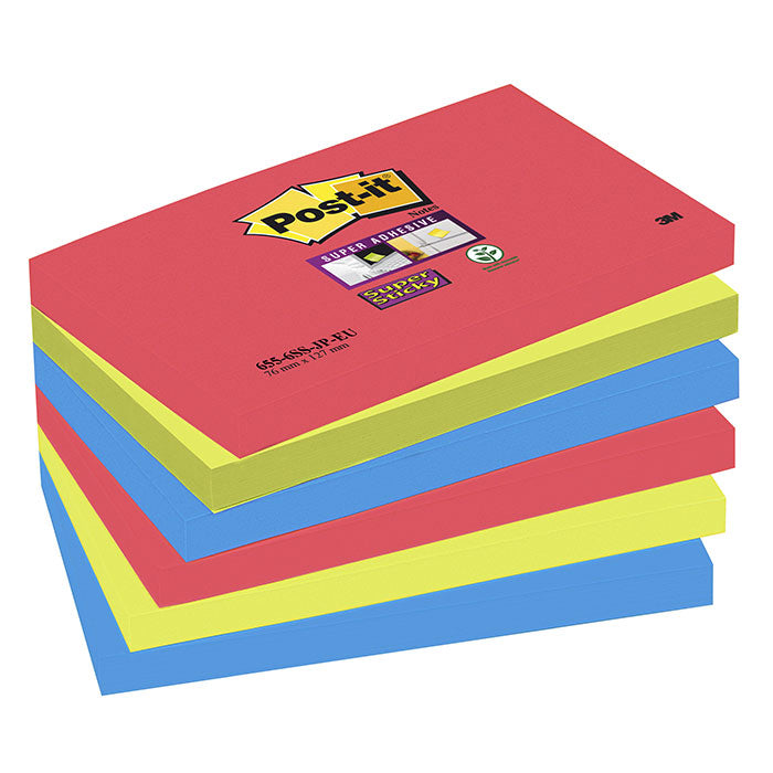 Blocco 3M Post-It 76X127 Super Sticky Colori Bora Bora Cf.6